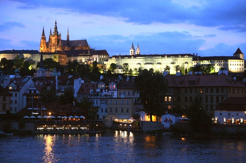 Overlooking the Vltava River toward Prague Castle.