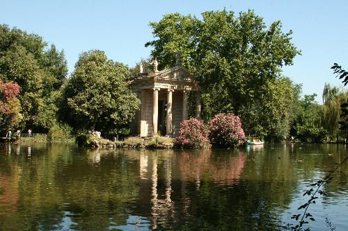 reflection on the lake in Villa Borghese, Rome