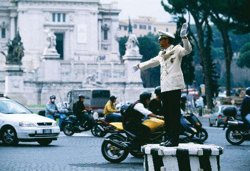 Traffic Policeman in Piazza Venezia, Rome
