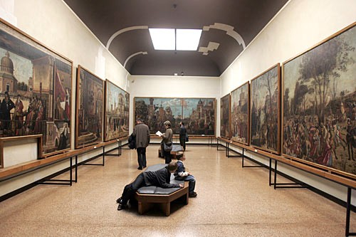 The rooms of the Gallerie dell'Accademia exhibit works by Veronese, Tintoretto, Titian, and others, including Giorgione's The Tempest.