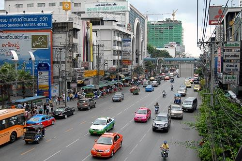 Bustling Petchburi Road in Bangkok, Thailand.