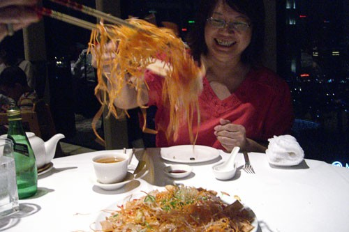 Yusheng, a traditional Chinese salad