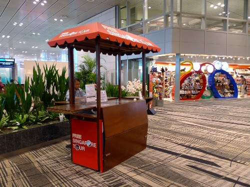Booth for Free Singapore Tour at Changi International Airport.