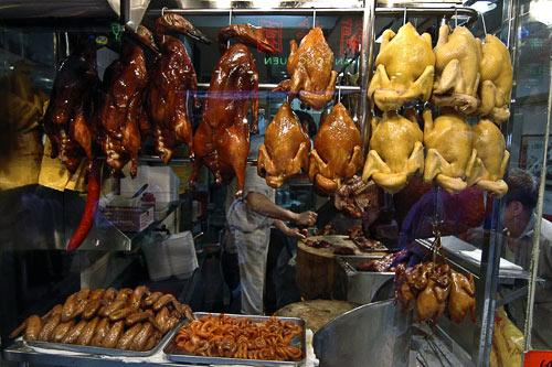 Poultry hangs from a food stall in Hong Kong.
