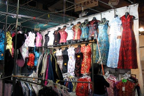 Traditional dresses for sale at the Temple Street Night Market in Hong Kong.