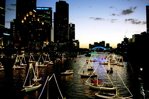 Illuminated boats along the Yarra River, Melbourne.