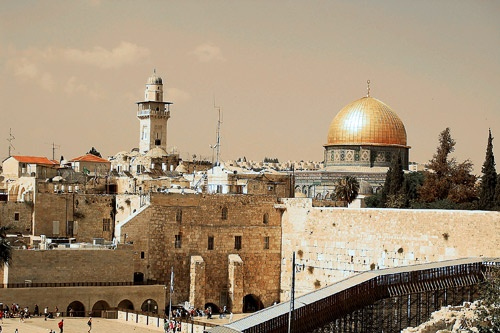 Dome of the Rock and the Western Wall, Jerusalem.