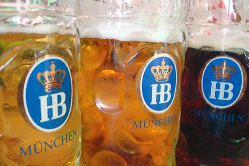 A close-up at the famous Hofbrauhaus beer hall in Munich.