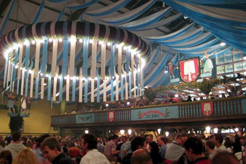 Spaten beer tent is festooned for Oktoberfest celebrations.