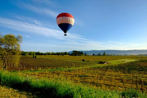 A hot air balloon over Napa Valley vineyards.