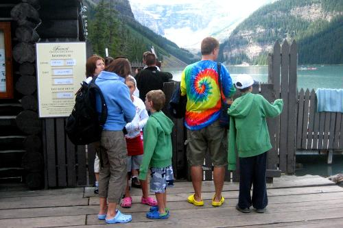A family of Croc-wearers at Banff National Park in Alberta.