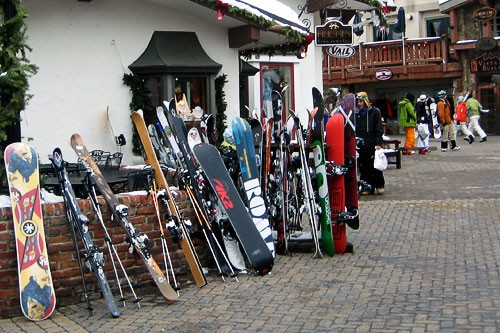 Snowboards and skis in downtown Vail, Co.