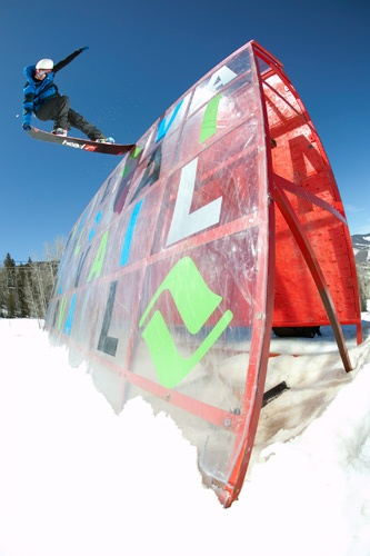 Snowboarding at Golden Peak Terrain Park, Vail. Photo by Dave Lehl, Vail Resorts