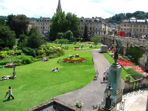 view from the roof tops of the Parade Gardens in Bath