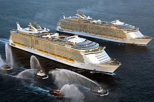 Allure of the Seas meeting Oasis of the Seas near Fort Lauderdale on Nov. 13. Courtesy Royal Caribbean International