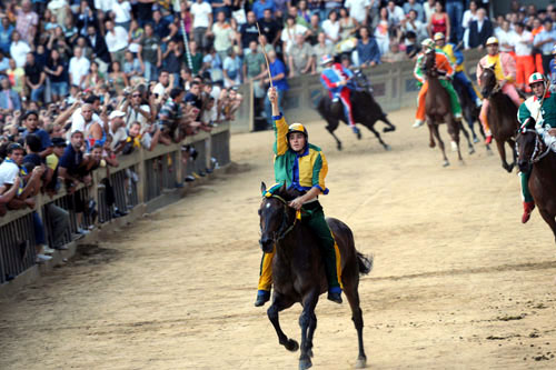 Racer at Siena's annual Palio race and celebration