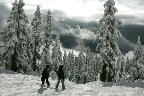 Skiers at Cypress Mountain near Vancouver, British Columbia.