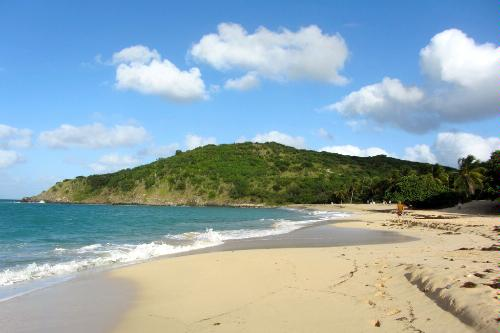 The beach on Happy Bay in St. Martin.