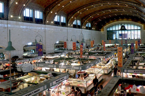 Aerial view of West Side Market in Cleveland.