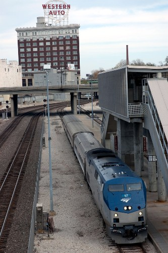 "Amtrak's Missouri River Runner in Kansas City. Photo by <a href=""http://www.flickr.com/photos/sneebly/4083777711/"" target=""_blank"">Sneebly/Flickr.com</a>."