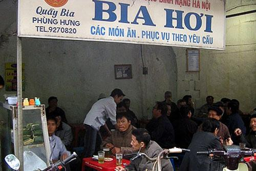 Bia Hoi (fresh beer) on Phung Hung Street in Hanoi, Vietnam.