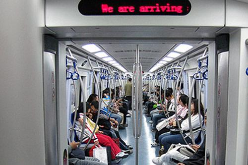 The new Line 2 trains on the Beijing subway have no doors between cars, allow you to see from one end to the other.