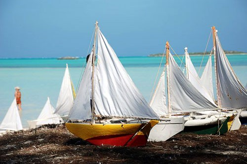 Boats on shore prior to Valentines Day Cup model sailboat races on Middle Caicos