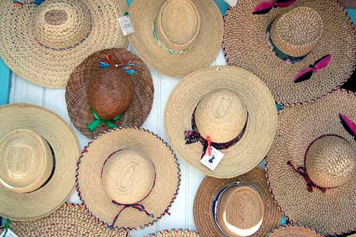 Hats for sale on Middle Caicos.