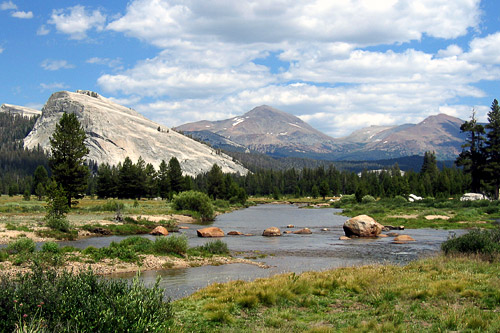 The Tuolumne River flows through Tuolumne Meadows