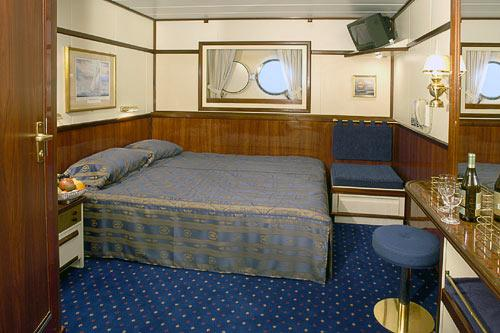 A standard stateroom aboard Star Clipper and Star Flyer.