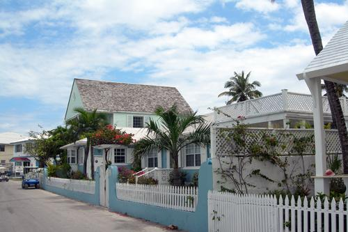 Colorful homes on a quiet street, Harbour Island, Bahamas