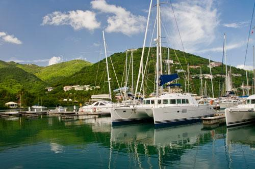 Sailboats in Nanny Cay Marina, Tortola Island in the British Virgin Islands