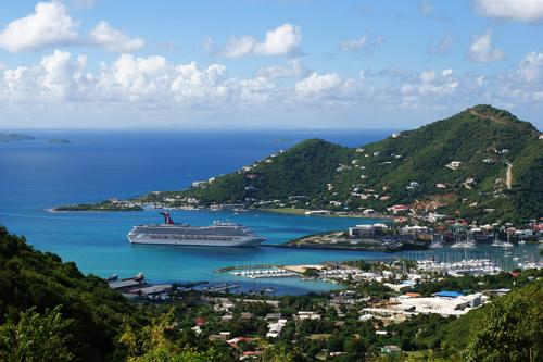 The view of the cruise liner anchored near Road Town, the capital of British Virgin Islands on Tortola island