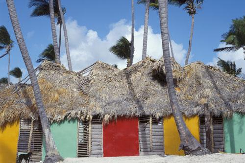 Colorful huts on a beach in Punta Cana, Dominican Republic