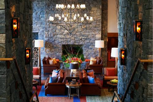 Lobby view of the Stowe Mountain Lodge.