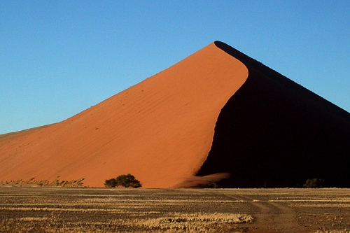 The orange dunes in the Namib Desert