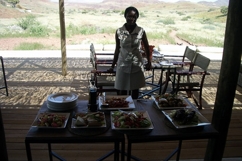 Table of authentic food at the Damaraland Camp