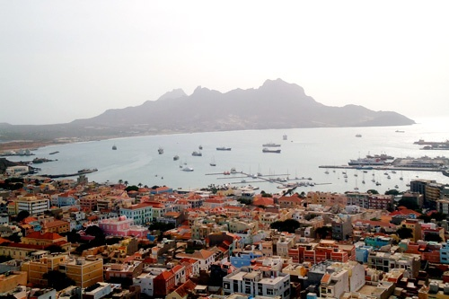 View of downtown Mindelo, Baia do Porto Grande and Monte Cara, Cape Verde.
