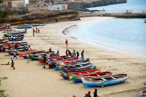 Beach and boats at Tarrafal, Santiago Island, Cape Verde.