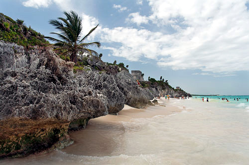 Beautiful shoreline at the beach in Tulum along the Mexican Gulf, Yucatan Peninsula