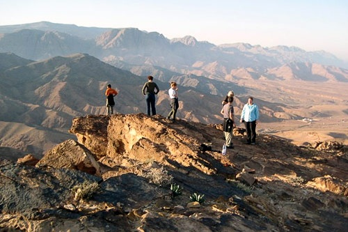 Hikers near Feynan Eco Lodge in Jordan.
