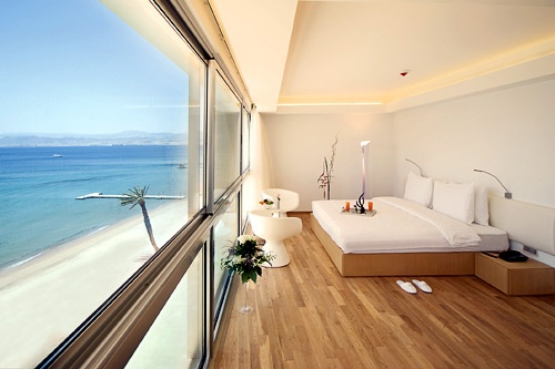A water-view room at the Kempinski Aqaba Hotel.