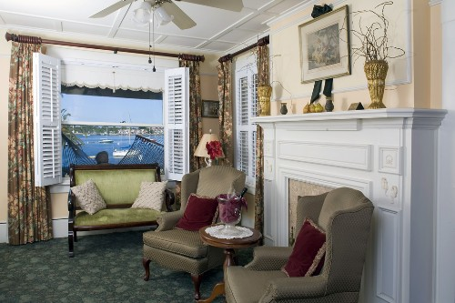 Sitting room overlooking the water at the Casablanca Inn, St. Augustine.