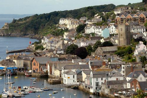 View of the harbor of Fowey, England.