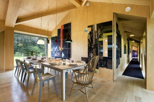Dining room inside The Balancing Barn by MVRDV. The house is in Thorington, Suffolk, and is part of the Living Architecture series of houses in the U.K.