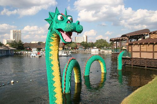 Lego dragon in the Downtown Disney lake outside the Lego store.