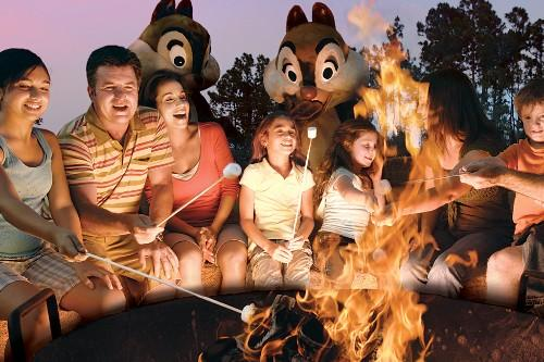 Guests can gather 'round the campfire, roast marshmallows, make S'mores and sing songs at Chip n Dale's Campfire Sing-a-Long at Disney's Fort Wilderness Resort & Campground.