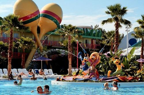 A special-themed swimming pool is the centerpiece of Disney's All-Star Music Resort.