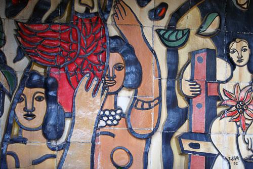 Fernand Leger mural at Auberge de la Colombe d'Or