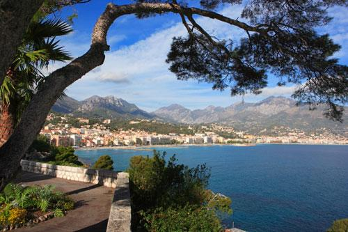 View of Menton along the French Riviera